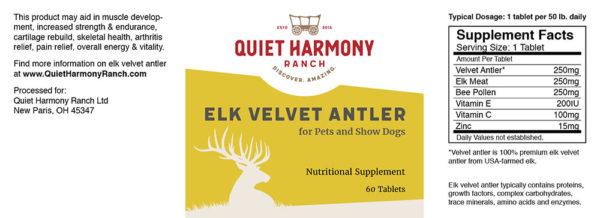 Pet - Elk Velvet Antler Nutrition Facts