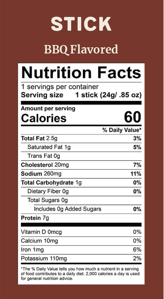 Elk Snacks Nutrition Facts for BBQ Elk sticks