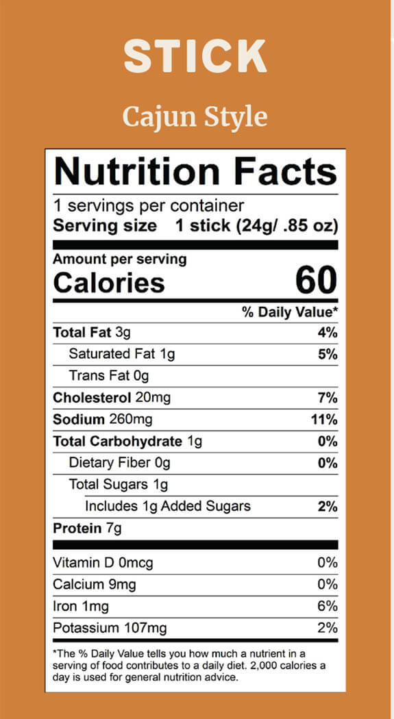 Elk Snacks Nutrition Facts for Cajun style Elk sticks