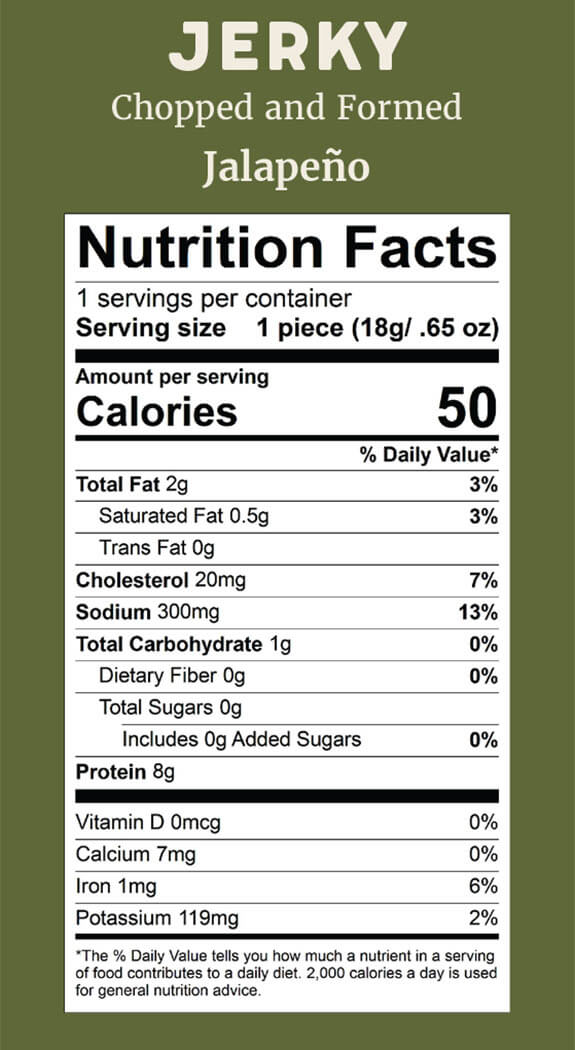 Elk Snacks Nutrition Facts